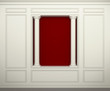 Red wall with classical columns and moldings