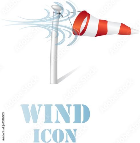 Wind speed flag on a pole sign on white