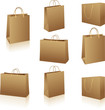 Natural brown paper shopping bags on white