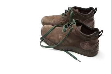 brown shoes on white background