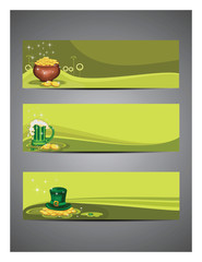 Vector illustration, set of headers for St. Patrick's Day.