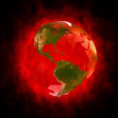 Red aura of Earth - America