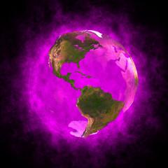 Magenta aura of Earth - America