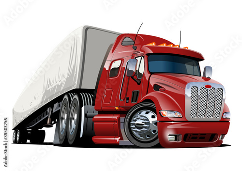 Canvas Cartoon cars vector cartoon semi truck. one-click repaint