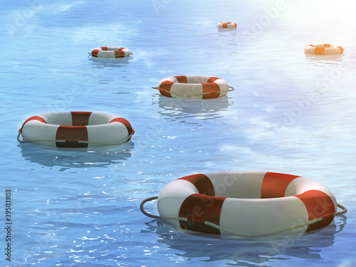 Lifebuoys, floating on waves