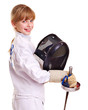 Child in fencing  holding epee .