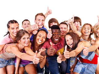Multi-ethnic group people.