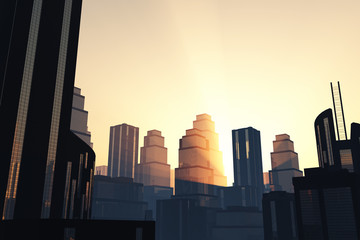 Metropolis sunset / sunrise 3D render 02