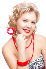 blonde woman with lollipop