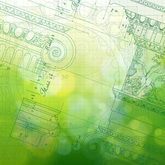 Blueprint - ionic architectural order & green background