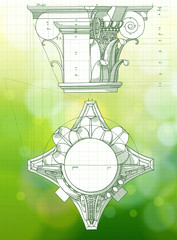 Chapiter - hand draw sketch composite architectural order & gree