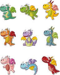 cartoon fat fire dragon icon set