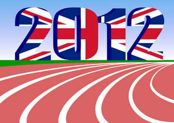 red race track with 2012 Union Jack. vector file