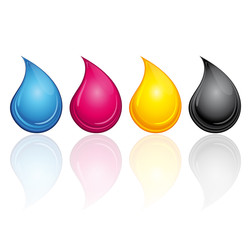CMYK CMJN ink drops with reflection.