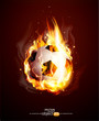 Vector abstract background with a burning football Ball