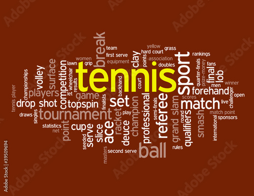 """TENNIS"" Tag Cloud (sport player ball court forehand backhand)"
