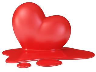 Red melting heart, 3d render
