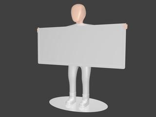 Mann mit Tafel in Seitenansicht