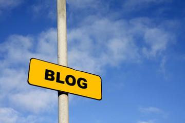 Yellow blog sign