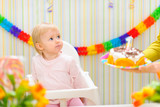 Surprised baby unexpecting birthday cake surprise poster