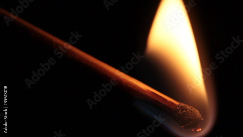 slow motion of burning matchstick