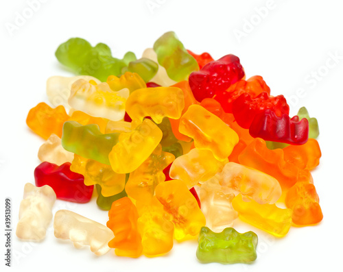 gummy bear candies isolated on white