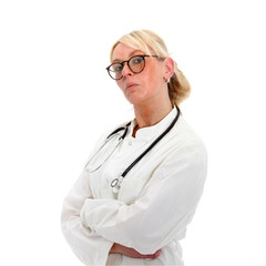 Female doctor showing some doubt