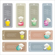 Cute easter labels, vector illustration