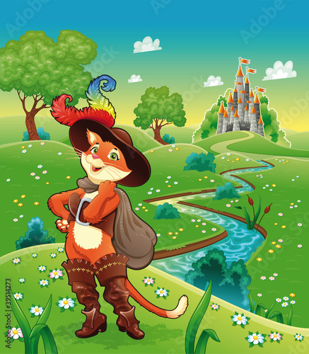 Foto op Canvas Kasteel Puss in boots and background. Cartoon vector illustration.