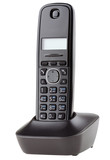 Cordless black telephone with cradle
