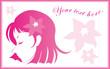 Flower girl vector_03_pink