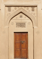 Ancient door with beautiful design on the top, Riffa Fort