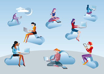 Cloud Computing Girls Sitting In Clouds