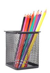 Pencils set in black basket