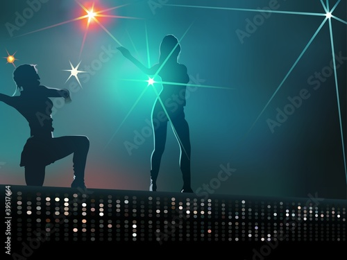 Dancing girls - Background Illustration