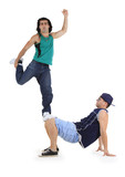 young male dancers performing a bboying stunt poster