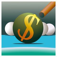 Symbol of Dollar and billiard