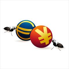 Two ants pushing Yuan and Euro  symbols