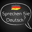 Kreidetafel, Sprechen Sie Deutsch, Sprechblase