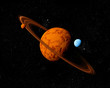 Planet with ring and moons. Abstract background of deep space. I
