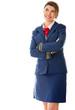 Pensive flight attendant