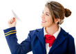 Stewardess with a paper airplane