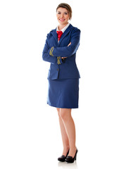 Flight attendant standing