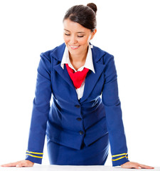 Air hostess isolated