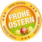 Button Frohe Ostern Ostereier orange