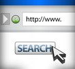 Modern internet web browser with search button
