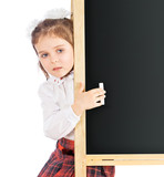 beautiful girl standing at the blackboard, isolated