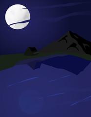 Bivouac de nuit près d'un lac