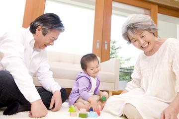 孫息子と積木で遊ぶ祖父母