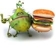 Microbe et hamburger